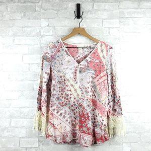 Sundance Tassel Sleeve Floral Blouse | Petite M